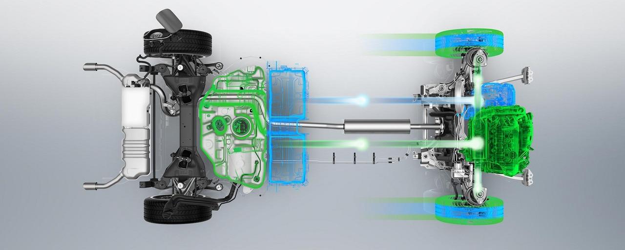 Motor PureTech 180hp / 132kW combinado con un motor eléctrico 110hp / 80kw para una potencia máxima combinada de 225hp / 165kw